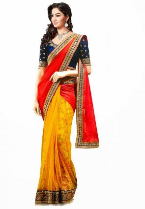 Diffusion Scintillating Orange And Red Embroidered Saree