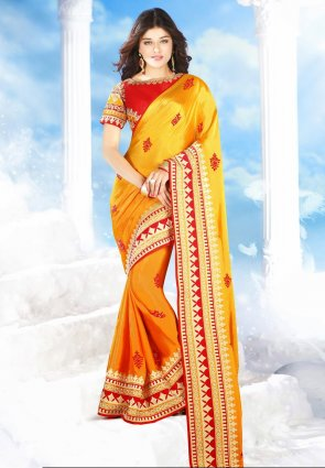 Diffusion Scintillating Orange And Yellow Embroidered Saree