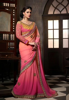 Diffusion Scintillating Peach Puff  And  Pink Embroidered Saree
