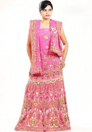 Diffusion Scintillating Pink Chaniya Choli