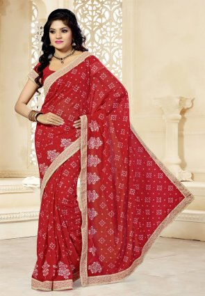 Diffusion Scintillating Red Embroidered Saree