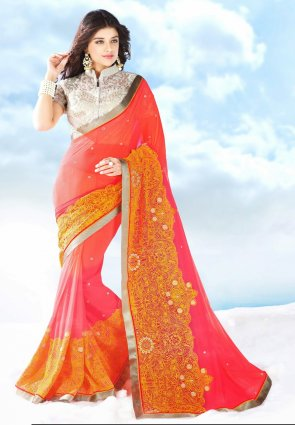 Diffusion Scintillating Tomato And Pale Fuchsia Embroidered Saree