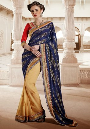 Diffusion Sparkling Beige  And  Navy Blue Embroidered Saree