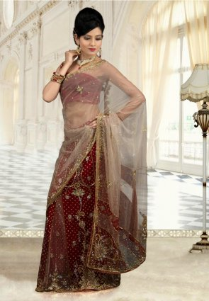 Diffusion Sparkling Beige And Maroon Embroidered Saree