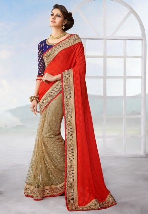 Diffusion Sparkling Beige And Red Embroidered Saree