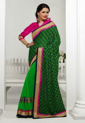 Diffusion Sparkling Black And Green Embroidered Saree