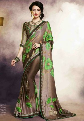 Diffusion Sparkling Brown And Gray Embroidered Saree