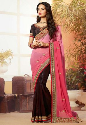 Diffusion Sparkling Brown And Pink Embroidered Saree
