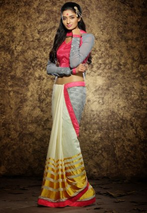 Diffusion Sparkling Buttercream And Gray Embroidered Saree