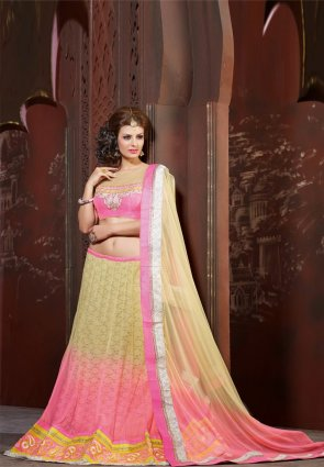 Diffusion Sparkling Cream And Pink Lehenga Choli
