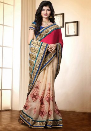 Diffusion Sparkling Crimson And Pale Rosy Brown Embroidered Saree