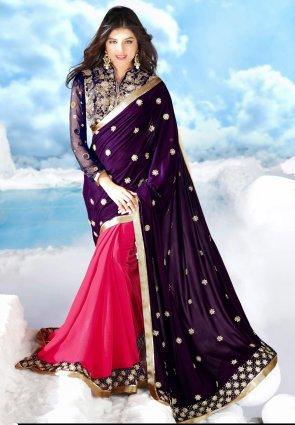 Diffusion Sparkling Deep Purple And Fuchsia Embroidered Saree