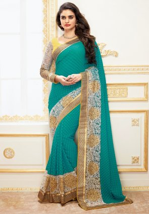 Diffusion Sparkling Greenish Blue Embroidered Saree