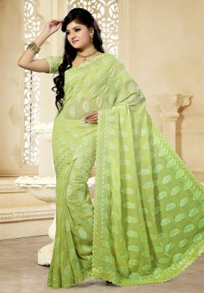 Diffusion Sparkling Honeydew Embroidered Saree