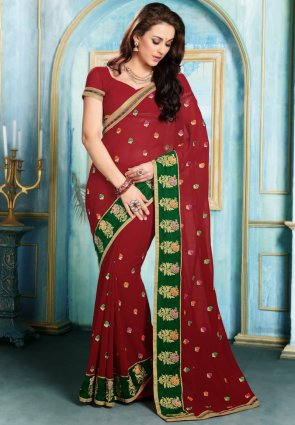 Diffusion Sparkling Maroon Embroidered Saree