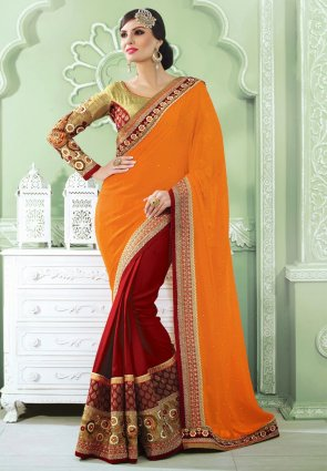 Diffusion Sparkling Maroon And Orange Embroidered Saree