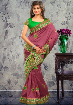 Diffusion Sparkling Mauve Embroidered Saree