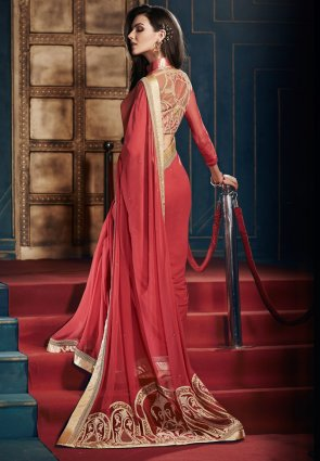 Diffusion Sparkling Red Embroidered Saree