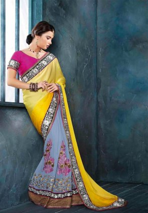 Diffusion Sparkling Sky Blue And Yellow Embroidered Saree