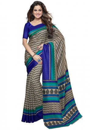 Diffusion Splendorous Beige Printed Saree