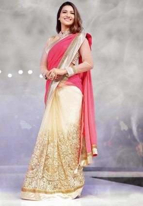 Diffusion Splendorous Beige And Pink Embroidered Saree