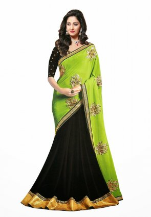 Diffusion Splendorous Black And Lime Green Embroidered Saree