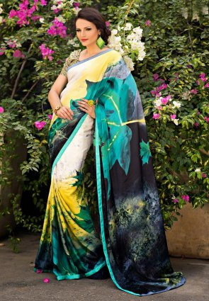 Diffusion Splendorous Black And Pale Yellow Printed Saree