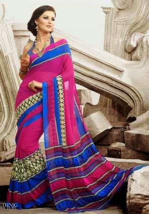Diffusion Splendorous Blue And Magenta Printed Saree