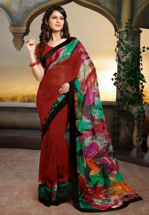 Diffusion Splendorous Brick Red Embroidered Saree