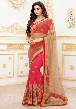 Diffusion Splendorous Brown And Pink Embroidered Saree