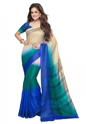 Diffusion Splendorous Cyan Blue And Pale Blue Printed Saree