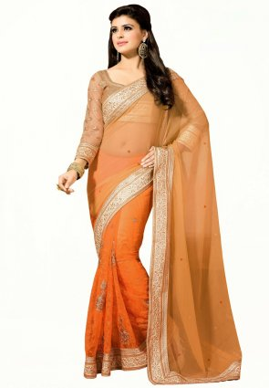 Diffusion Splendorous Deep Orange And Orange Embroidered Saree