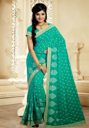 Diffusion Splendorous Greenish Blue Embroidered Saree