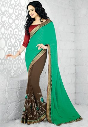 Diffusion Splendorous Greenish Blue And Saddle Brown Embroidered Saree