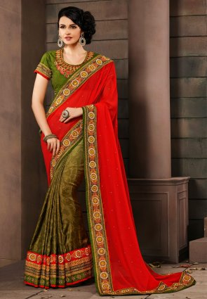 Diffusion Splendorous Mehendi Green And Red Embroidered Saree