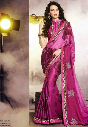 Diffusion Splendorous Pink Embroidered Saree