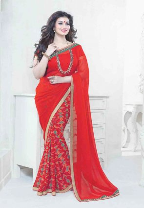 Diffusion Splendorous Red Embroidered Saree