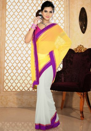 Diffusion Splendorous White And Yellow Printed Saree