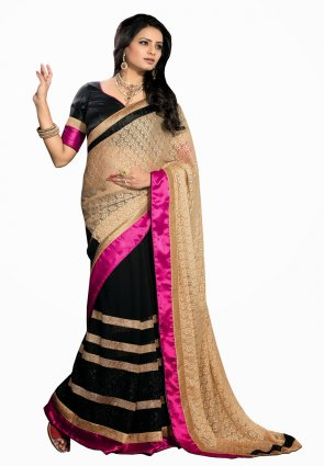 Diffusion Tantalizing Beige And Black Embroidered Saree