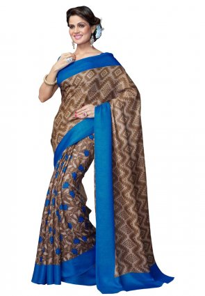 Diffusion Tantalizing Beige And Choclate Printed Saree