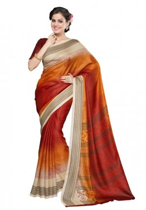 Diffusion Tantalizing Beige And Orange Printed Saree