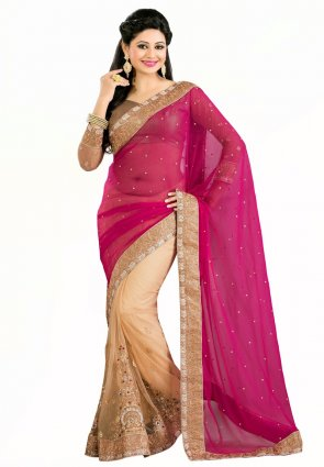 Diffusion Tantalizing Beige And Pink Embroidered Saree