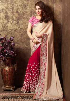 Diffusion Tantalizing Beige And Red Embroidered Saree