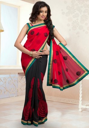 Diffusion Tantalizing Black And Crimson Embroidered Saree