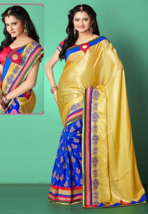 Diffusion Tantalizing Blue And Gold Color Embroidered Saree