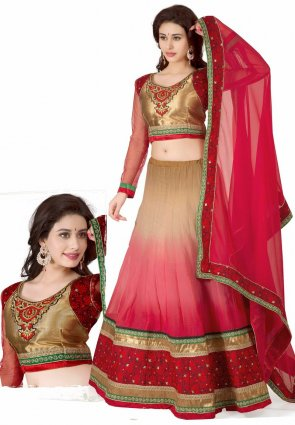 Diffusion Tantalizing Brown And Red Lehenga Choli