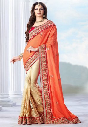 Diffusion Tantalizing Cream And Tomato Embroidered Saree