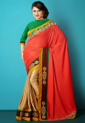 Diffusion Tantalizing Deep Beige And Red Embroidered Saree