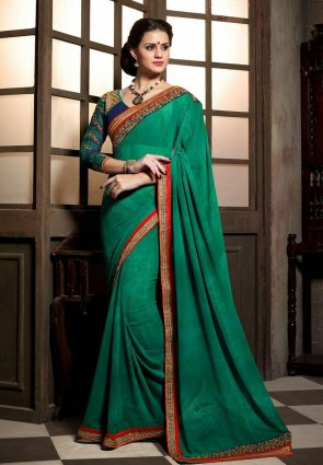 Diffusion Tantalizing Jade Green Embroidered Saree