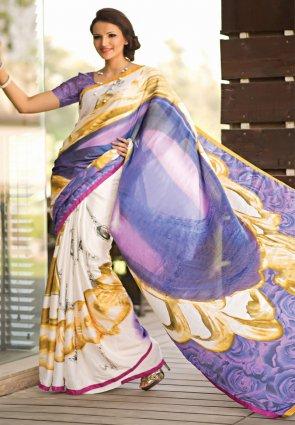 Diffusion Tantalizing Lavender And Orange Printed Saree